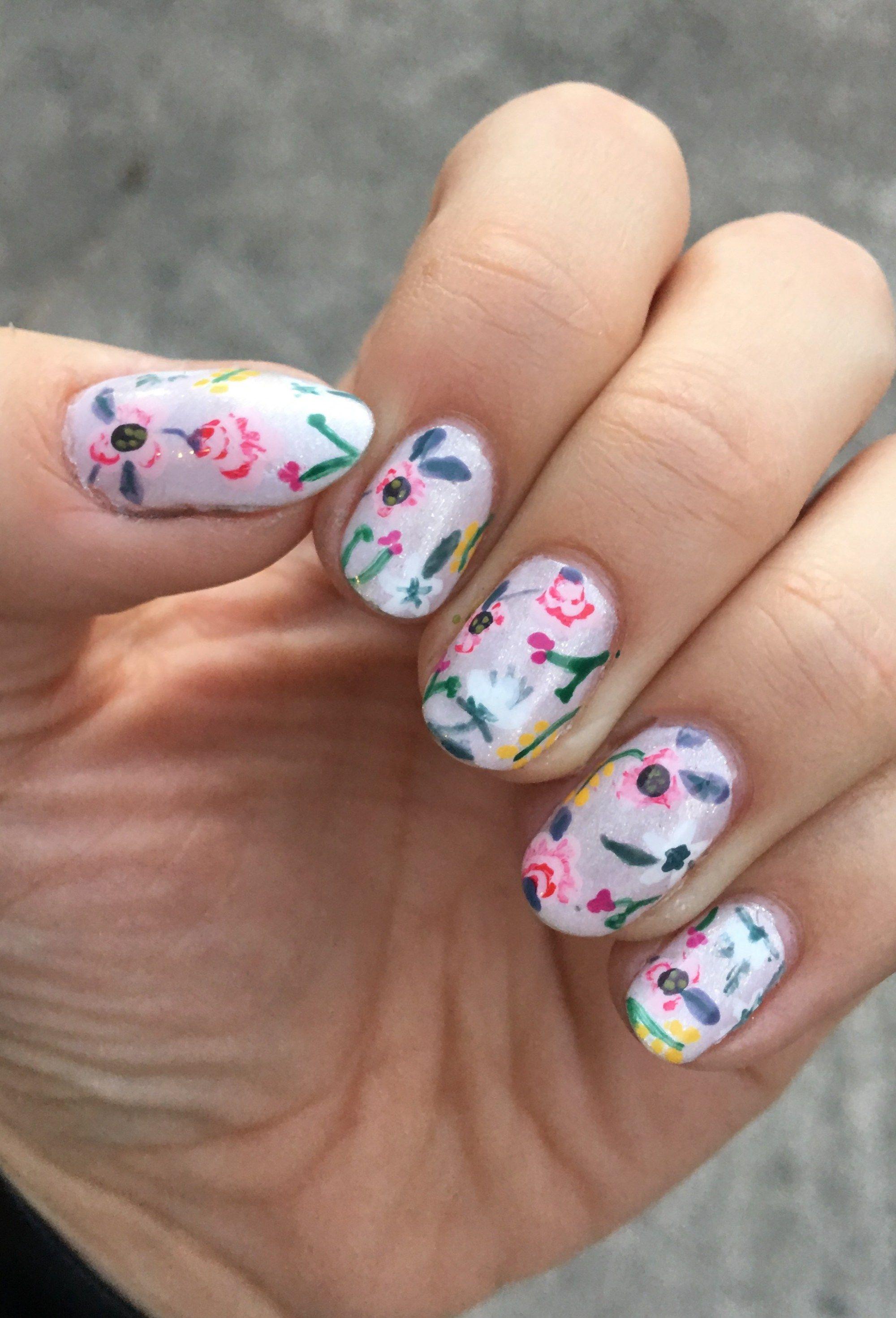 Spring floral nail art real nails hand painted nail art nail