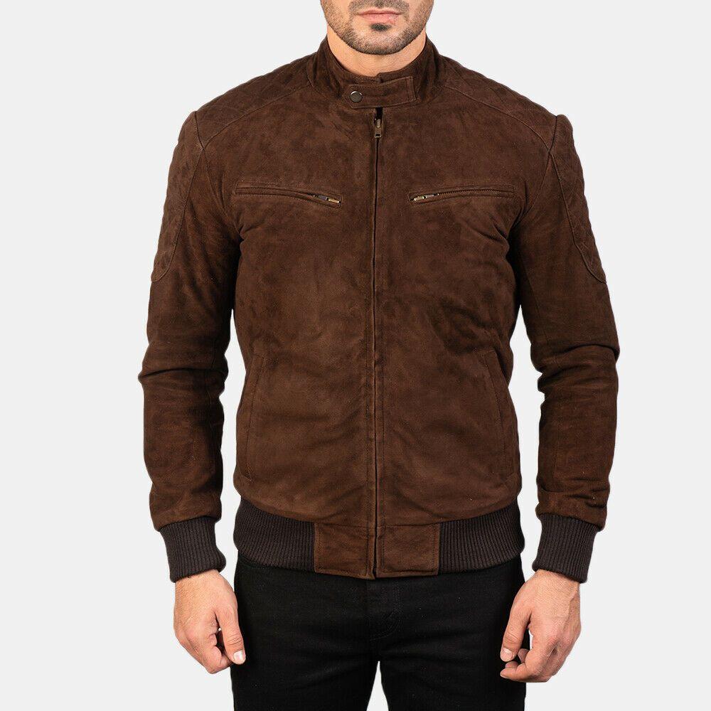 Men S Suede Leather Brown Bomber Casual Jacket Baseball Collar Quilted Shoulder Handmade Bomberjacke Suede Bomber Jacket Patterned Bomber Jacket Suede Bomber [ jpg ]