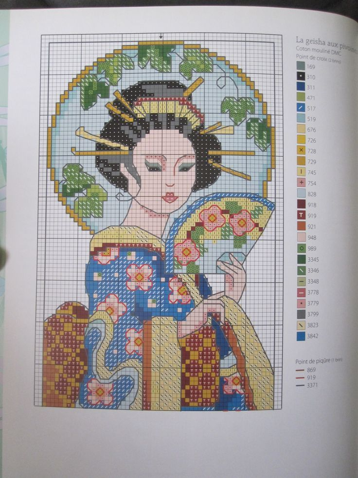 point de croix femme geisha , cross stitch woman geisha japanese 1