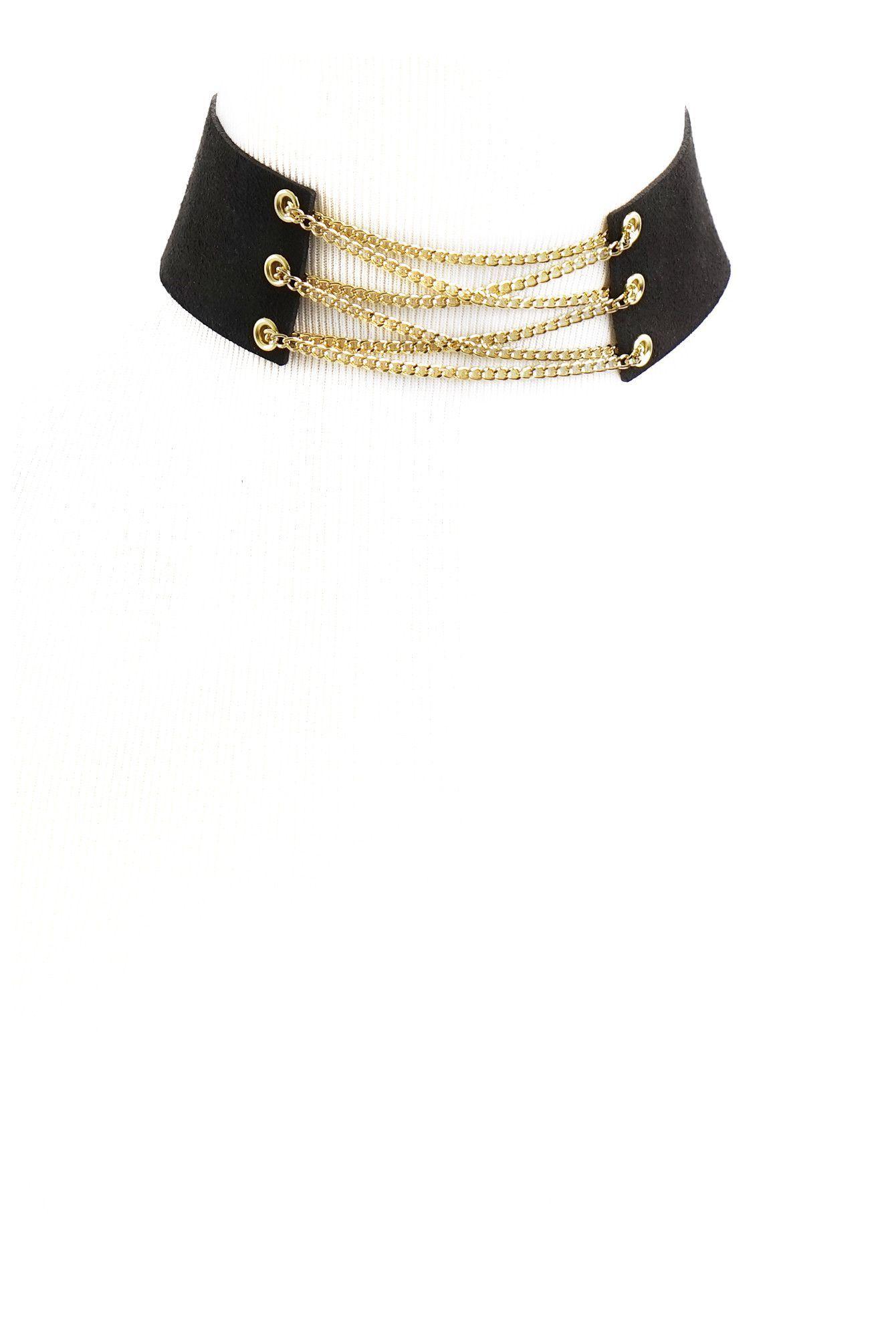 Gold Chain Black Corset Choker