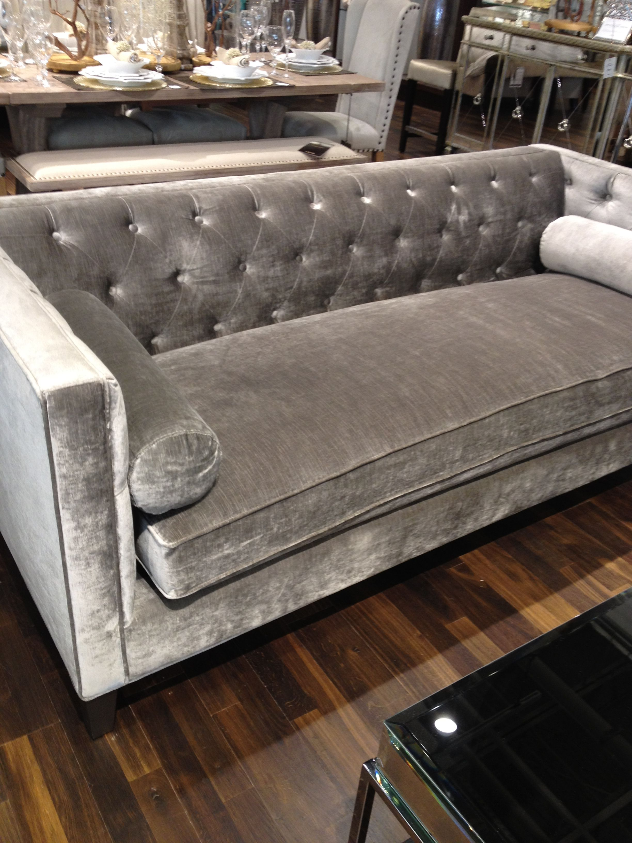 Tufted grey couch  Home Living Areas  Velvet tufted