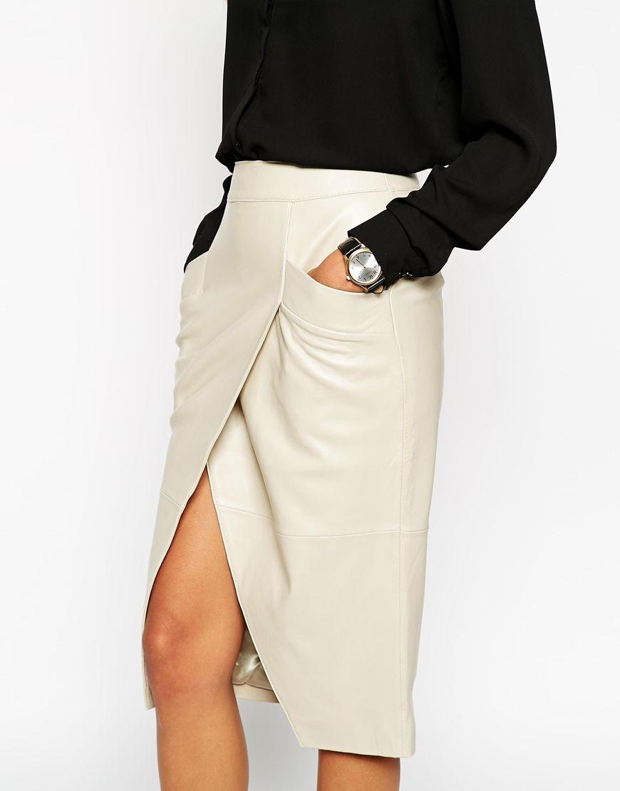 Изображение 3 из Кожаная юбка-карандаш с запахом спереди и ...