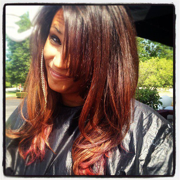 Ombre with Pink  Long Layered Cut  done by Jackie  #VANITYLAB