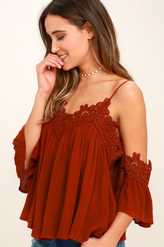 aaa950684a Show your love for lace with the Daily Devotion Rust Red Lace Off-the-