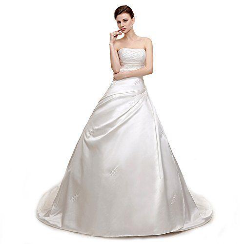 Utamall White A-line Wedding Dress Strapless Beading Brid... https://www.amazon.com/dp/B01MFDG6MJ/ref=cm_sw_r_pi_dp_x_YhI4ybEWHF7PH