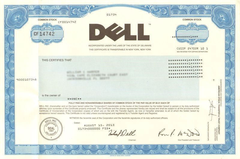 Dude! You\'re getting a DELL stock certificate! collectible Michael ...