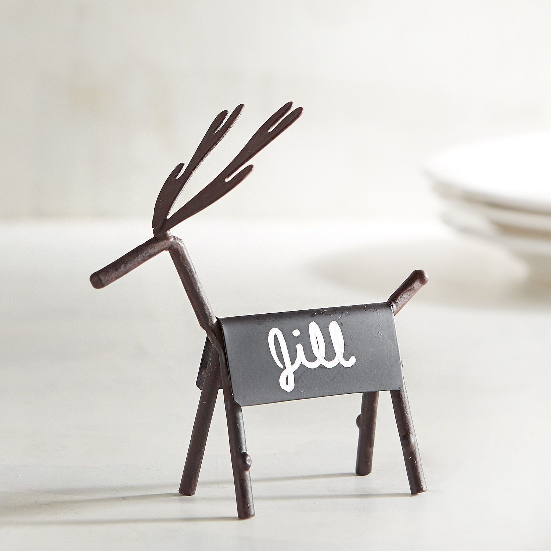 Chalk Reindeer Place Card Holder Brown