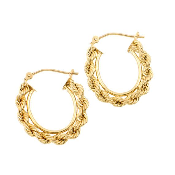 10K Gold Rope Chain Hoop Earrings • Vintage Gold Earrings with