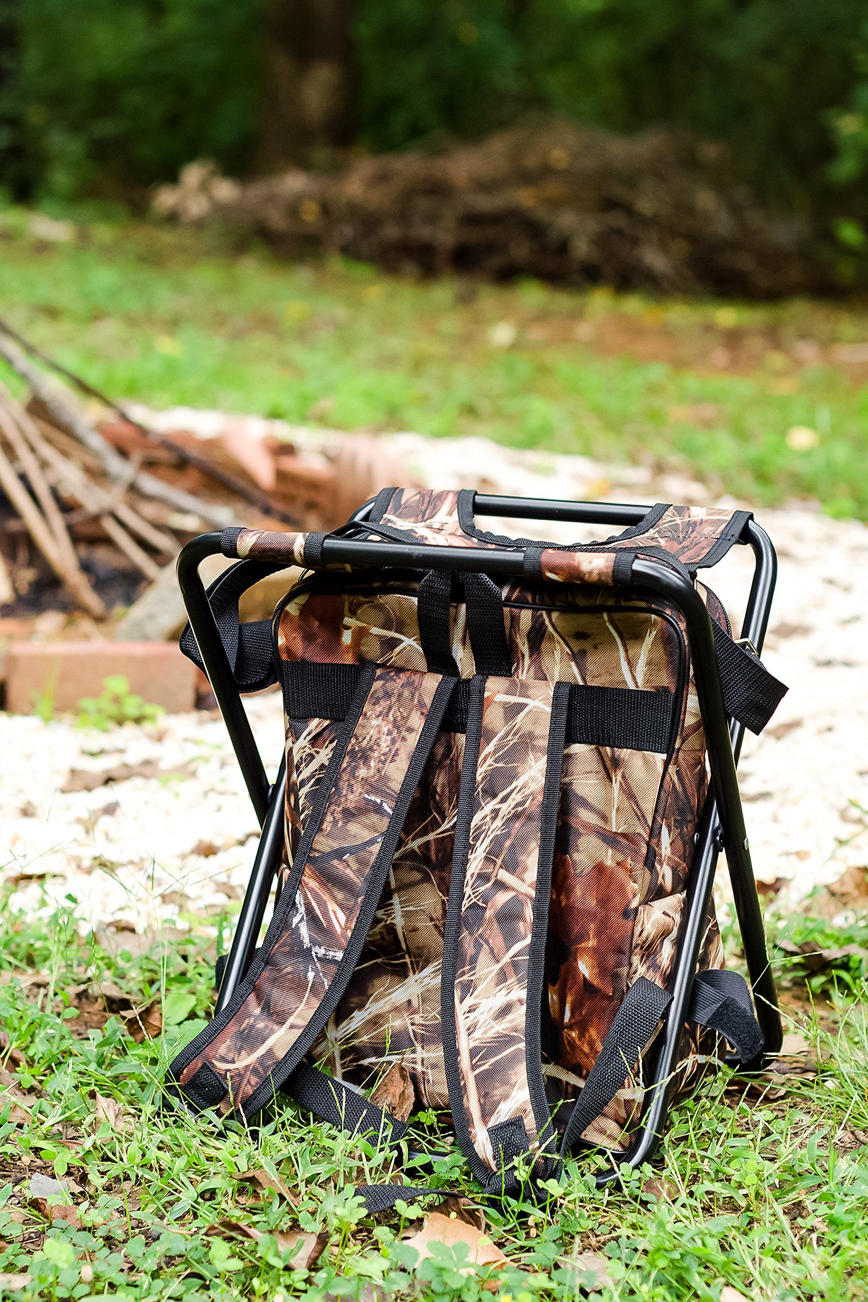 Camco 51908 Camping Stool Backpack Cooler Camo ** You can