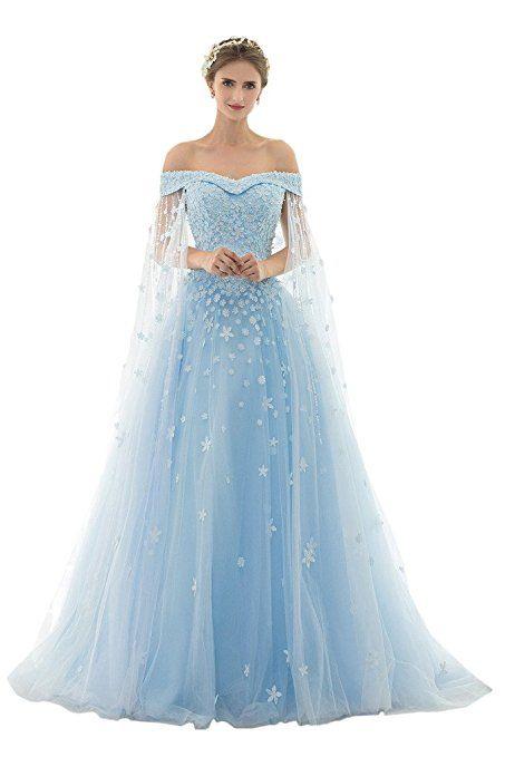Promgirl House Damen Traumhaft Prinzessin A-Linie Spitze Abendkleider Fest Hochzeitskleider  Lang mit Schleppe-