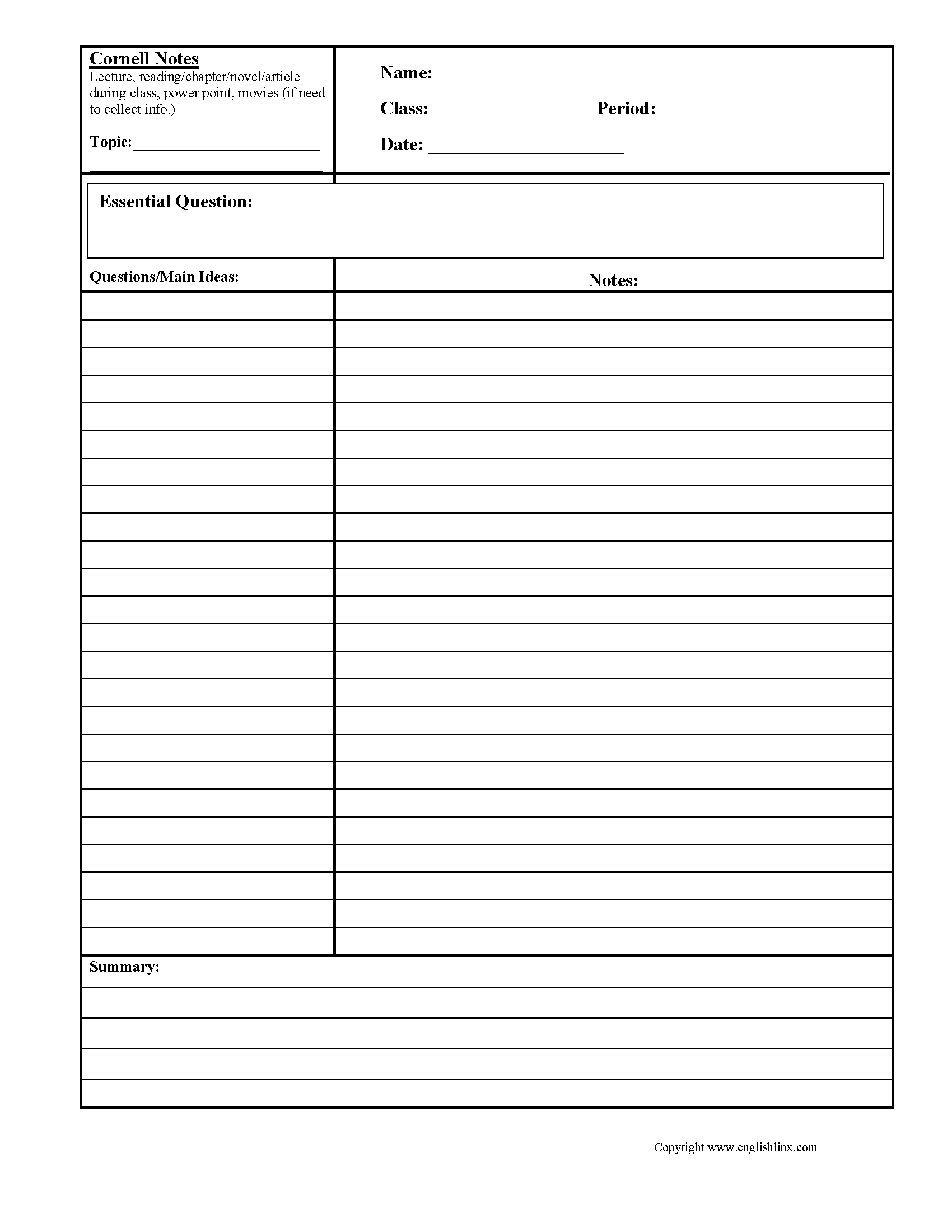 Cornell Notes Reading Comprehension Worksheets