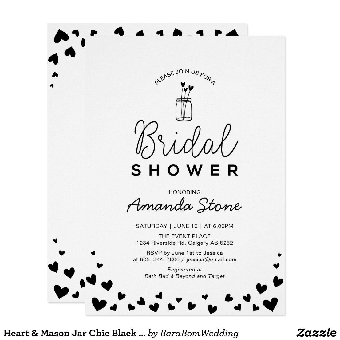 Heart & Mason Jar Chic Black Bridal Shower Card Celebrate your ...