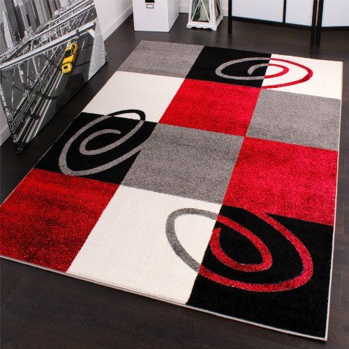 Designer Carpet Modern Chequered Red Black White Top Quality At Top Price Size 160x220 Cm Amazon Co Uk Carpet Design Grey And White Rug Egyptian Home Decor