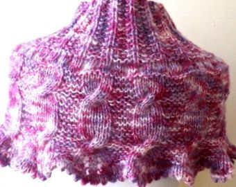 Maroon Shoulder Wrap Handknit Shawl Buttoned by ToppyToppyKnits