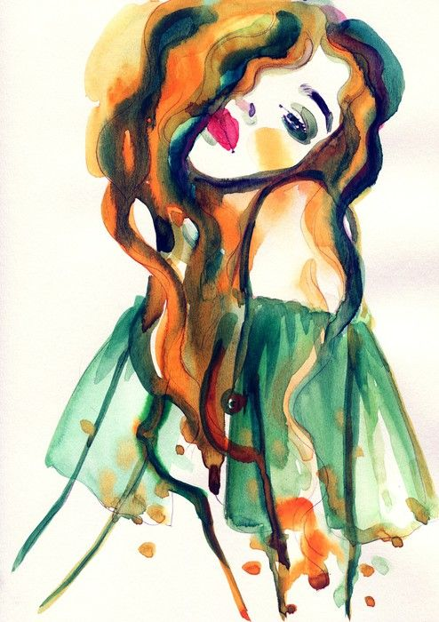Woman Portrait Abstract Watercolor Sticker Pixers We Live To