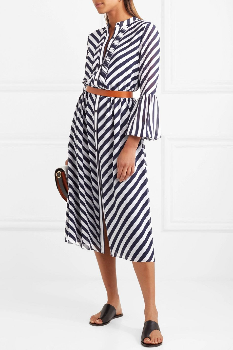 Michael Kors Striped Georgette Midi Dress Net A Porter Com