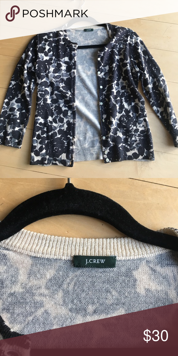 J. Crew Floral Black/White Cardigan Size small Jackie Cardigan. J. Crew. Black and white floral print. Perfect condition. J. Crew Sweaters Cardigans