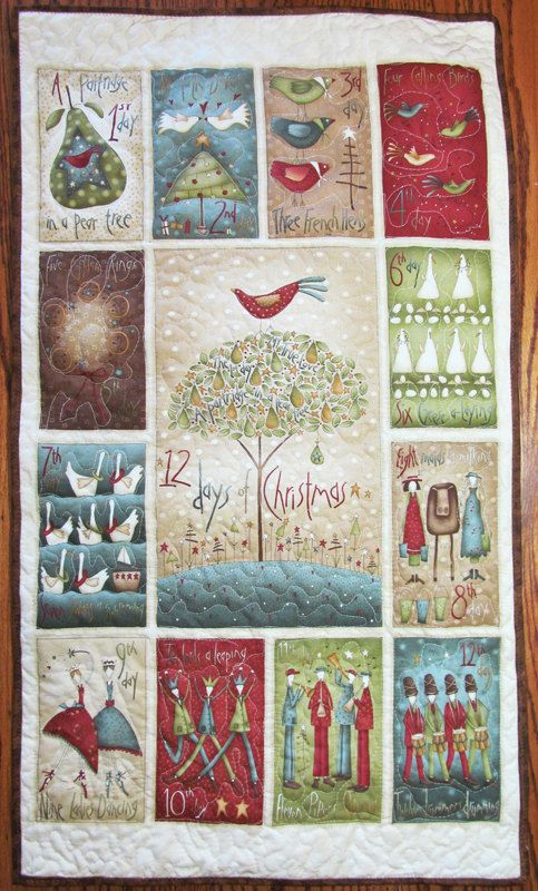 Christmas Quilt 12 Days Of Christmas Wall Hanging 23 X 40 H 04 Comforter Cotton Fabric Holiday Partridge Christmas Patchwork Lap Quilt Christmas Quilt
