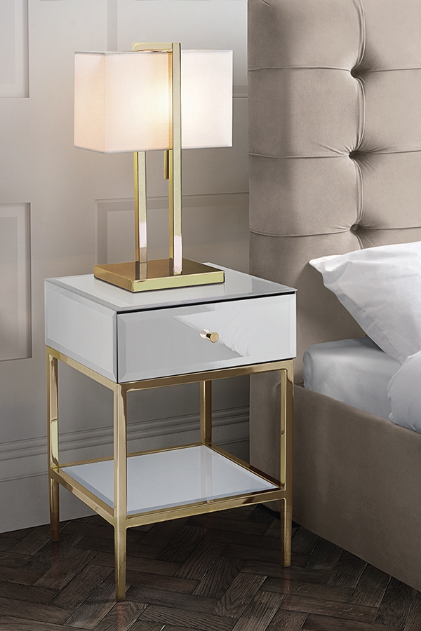 stiletto toughened white glass and brass side table in