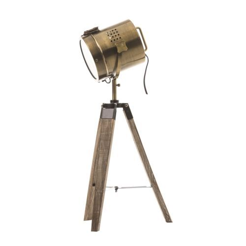 Lampe Projecteur Vintage Et Retro En Metal S Et Trepied En Bois Neuf Lampara Madera Madera Thing 1