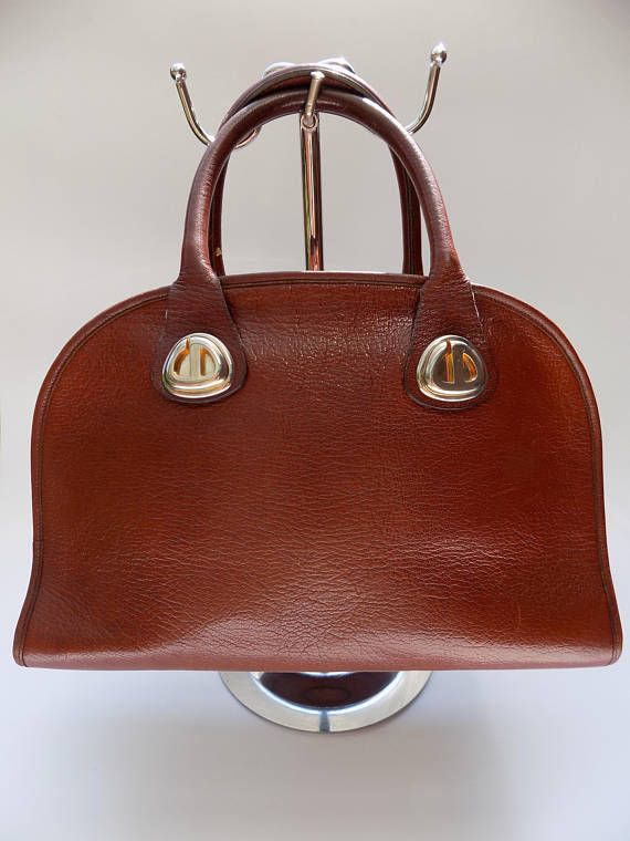 6b6c296e2b74 DIOR Christian Dior Vintage Brown Leather Bowling Bag. French ...
