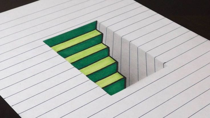 Easy 3d Line Drawings : How to draw d steps in a hole on line paper easy fun