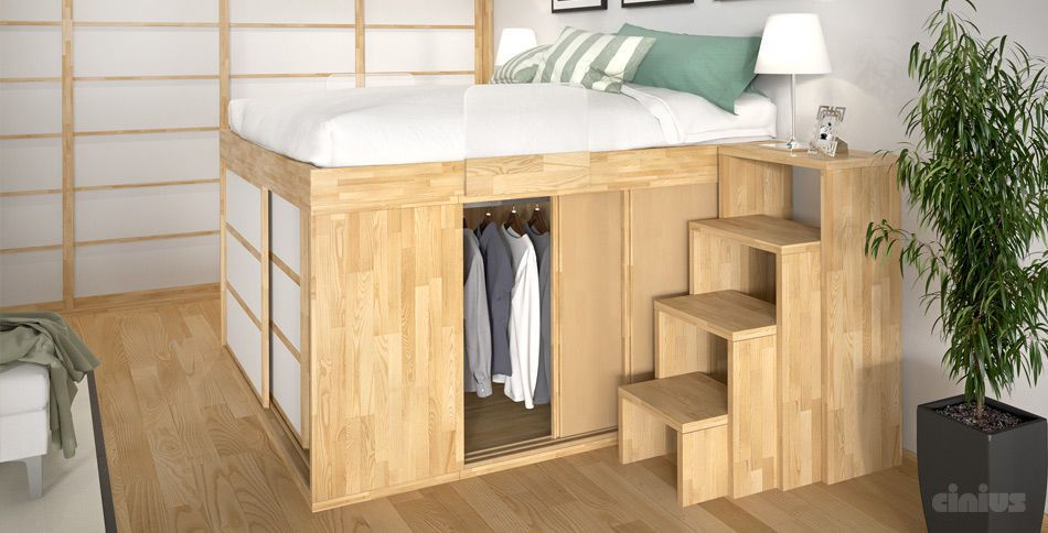 Loft Bed Double Contemporary Wooden Letto A Soppalco