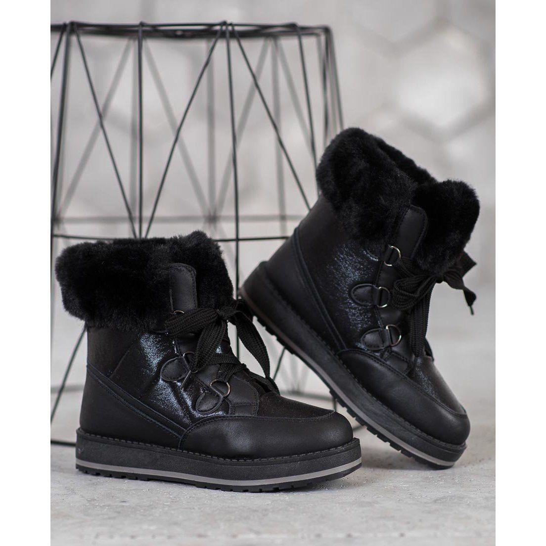 Muto Blyszczace Sniegowce Czarne Boots Combat Boots Sorel Winter Boot