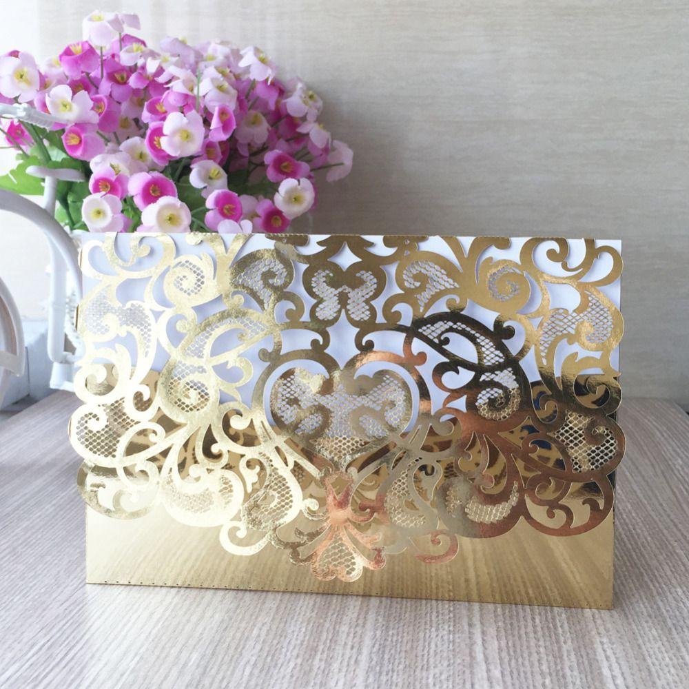 50pcslot Laser Cut Paper Metallic Gold Heart Shape Wedding