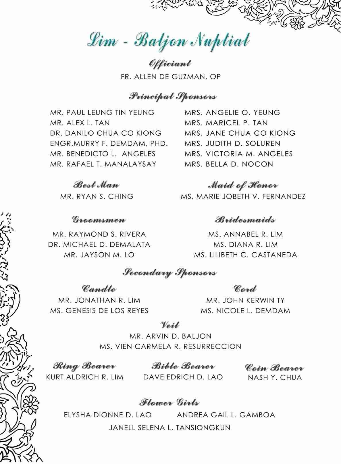 Simple Wedding Programs Templates