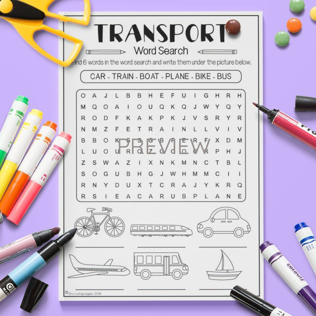 Transport Word Search