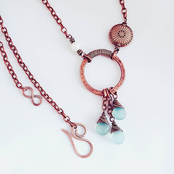 Aqua blue necklace wire wrapped jewelry chalcedony necklace | Wire ...