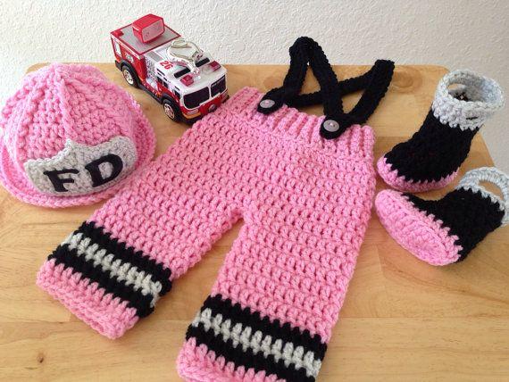 Original Design Baby Girl Firefighter Fireman Crochet Hat Outfit 4