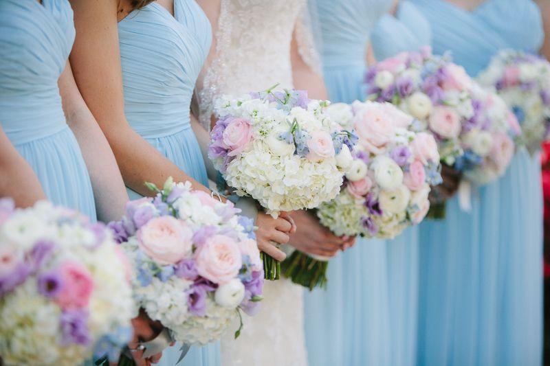 Maryland Wedding Ceremony Soft Pink And Blue Bridesmaids