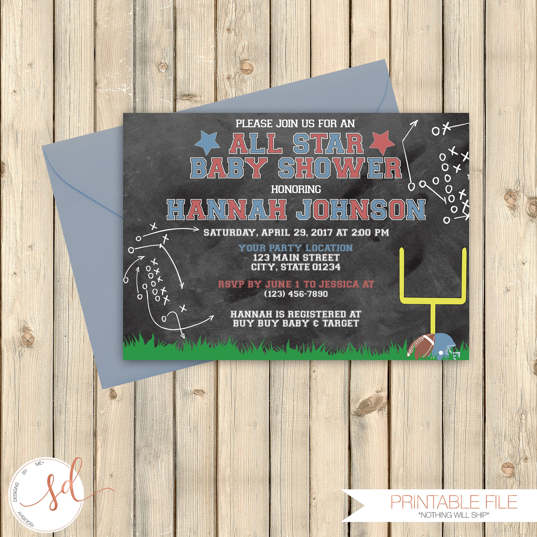 Vintage Football Baby Shower Invitation, Sports Theme Shower, Pink ...