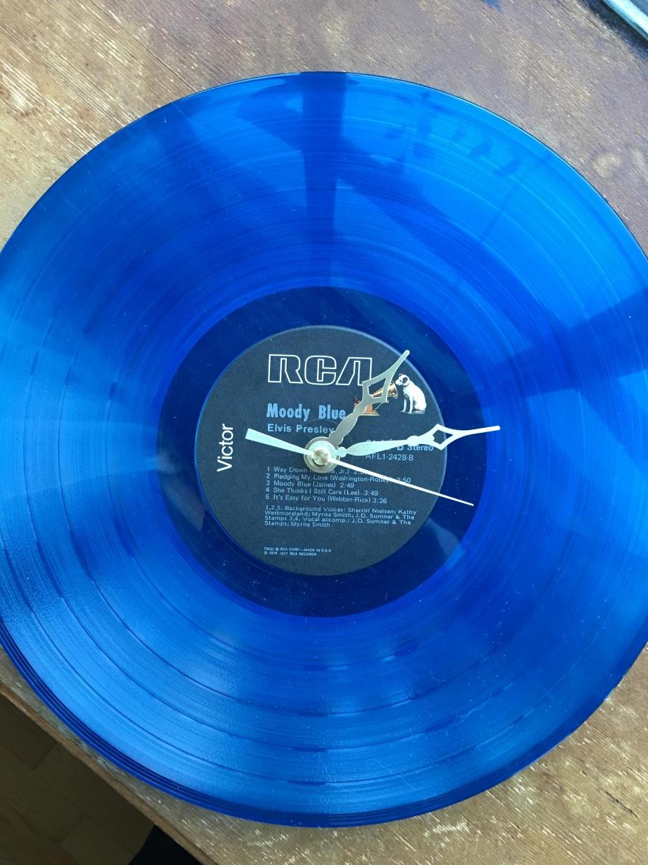 Elvis Presley Genuine Blue Vinyl Lp Record Clock Blue Vinyl Record Clock Vinyl