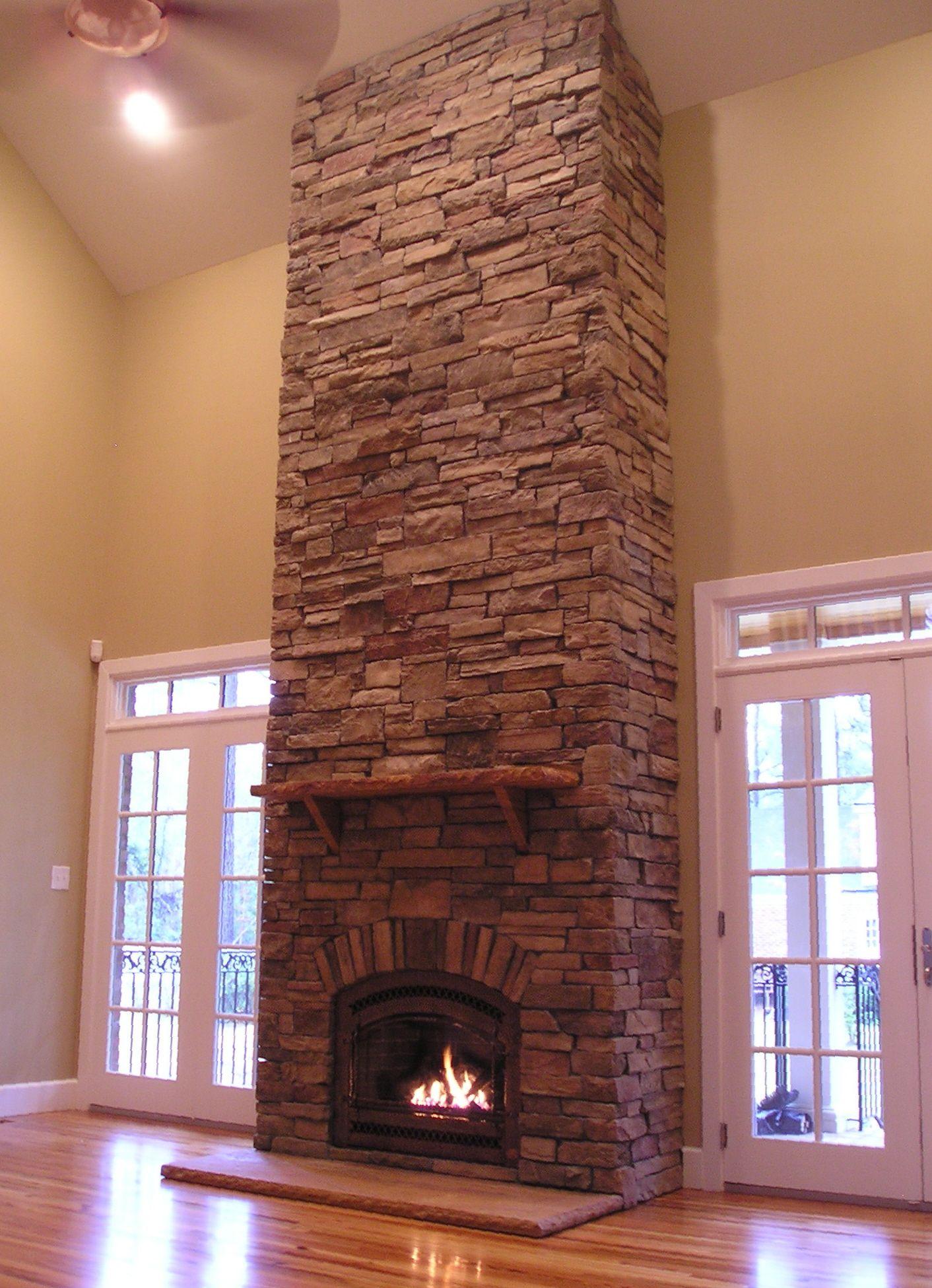 2 Story Stone Fireplace Stone Mantel Shelf Hand Hammered Iron