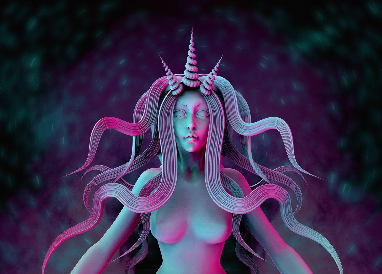 Speedsculpted Mermaid, Ksenia Shumikhina on ArtStation at https://www.artstation.com/artwork/xxzr1