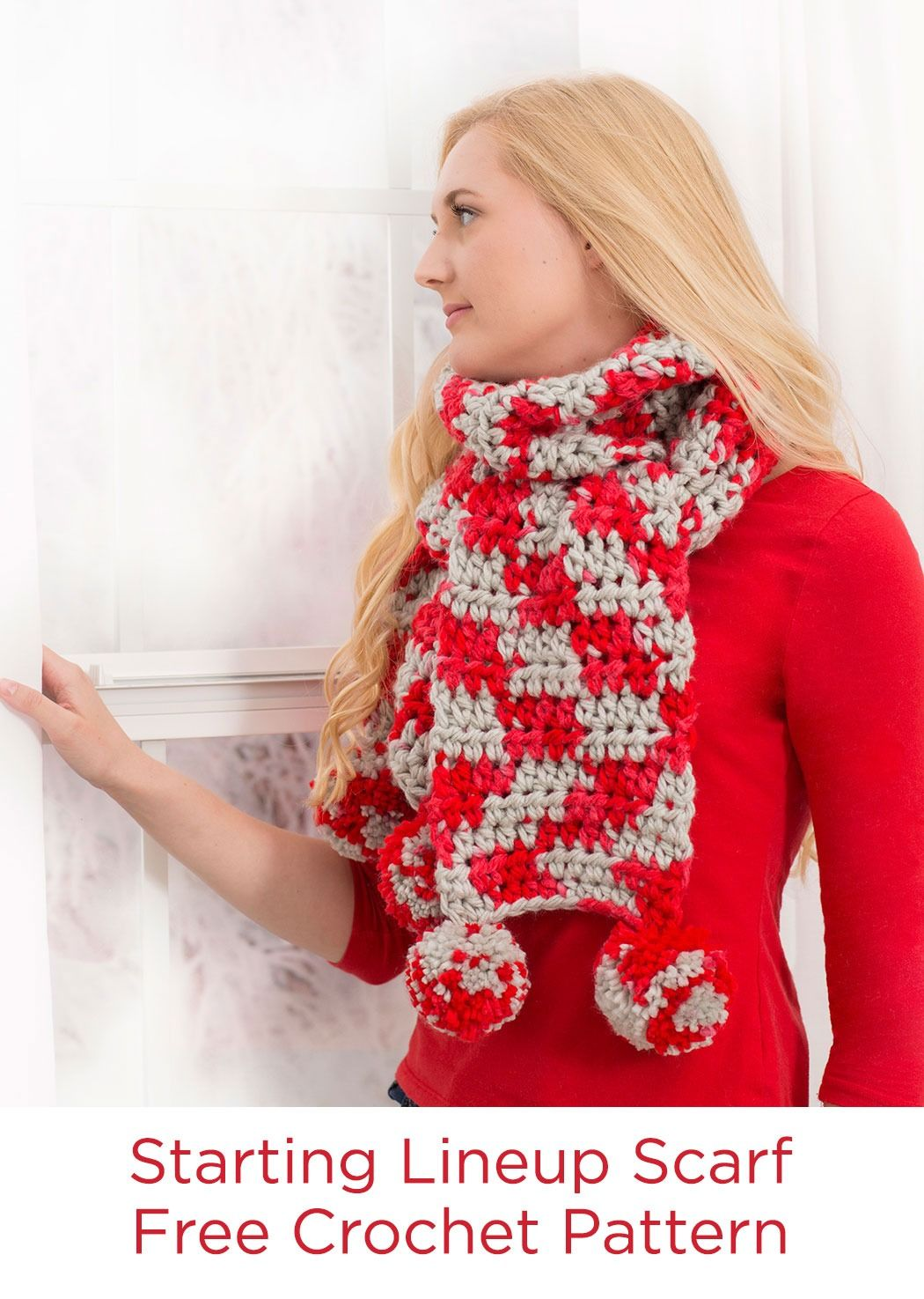 Starting lineup scarf free crochet pattern in red heart yarns starting lineup scarf free crochet pattern in red heart yarns this scarf is crocheted bankloansurffo Image collections