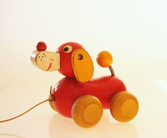 Orange Yellow Wooden Dog Pull Toy Children Room By Hipposdream