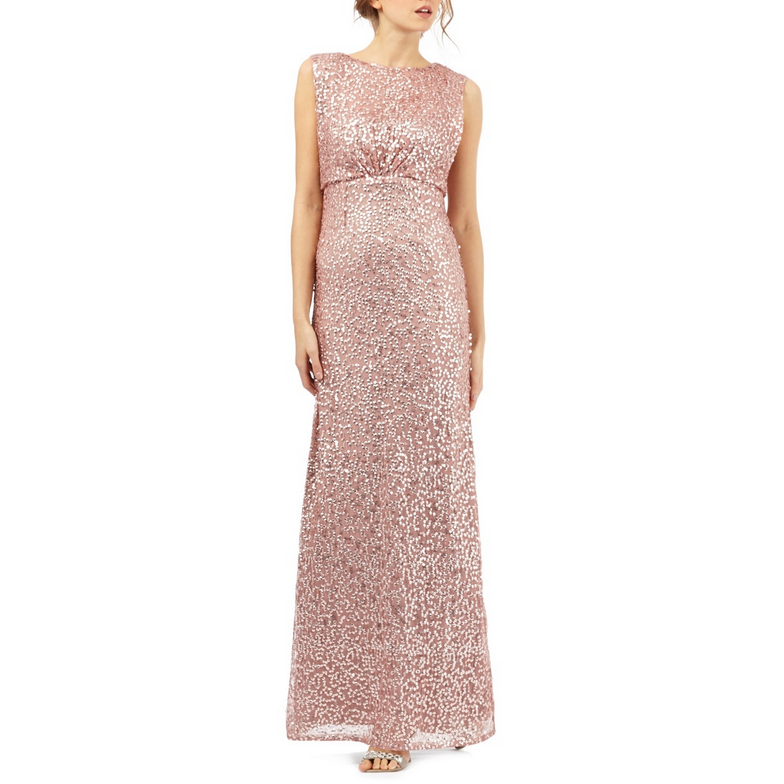 Powder Pink Sequin Party Dress