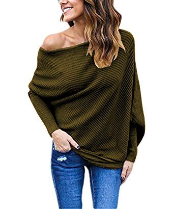 db7d463e8b JOYCHEER Women s Off Shoulder Batwing Sleeve Loose Ribbed Pullover Sweater  Knit Jumper