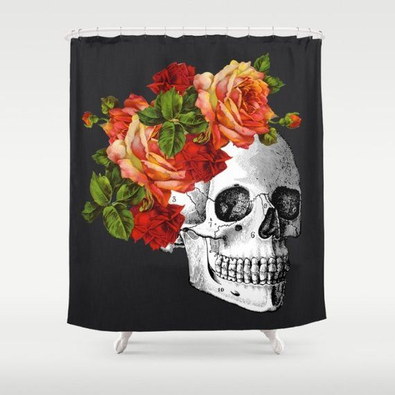 Skull Shower Curtain Day Of The Dead Shower Curtain Dia De Los