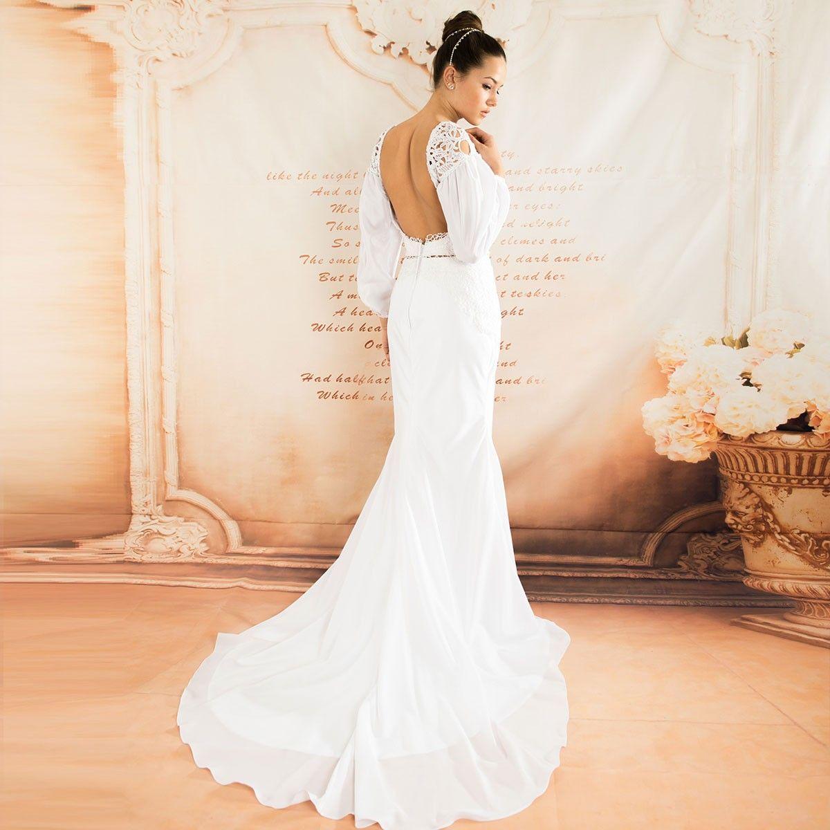 Langer Ärmel rückenfreies erotisches Hochzeitskleid | Rückenfrei ...