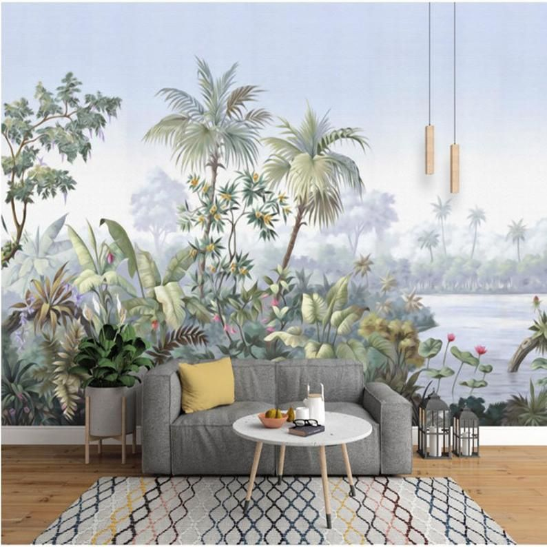 Photo of Retro Reminiscent Tropical Rainforest Wallpaper Wall Mural, Jungle Froest Trees Scenic Wall Mural,Living Room Bedroom Wallpaper Wall Murals