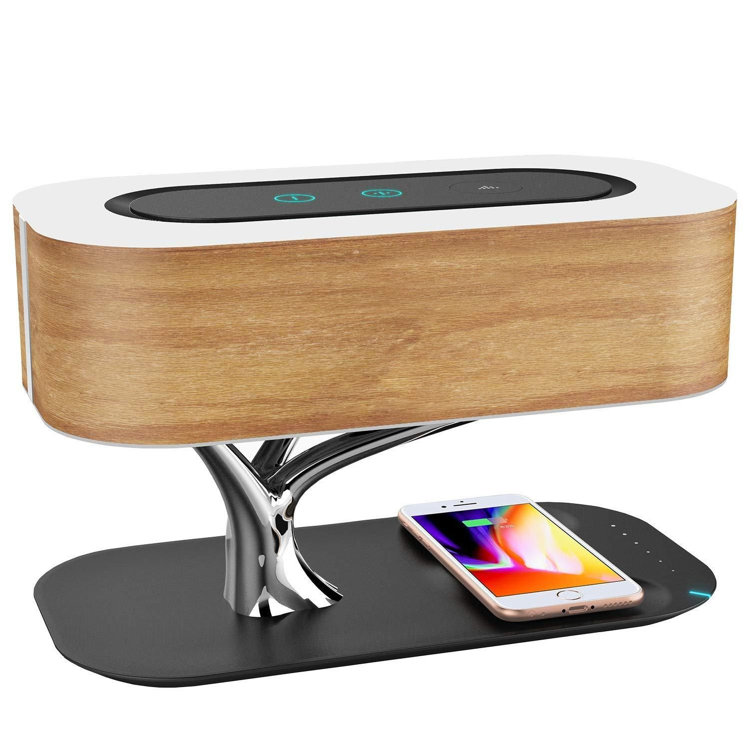 Smart Modern Lamp With Bluetooth And Wireless Charger In 2020 Bedside Lamp Wireless Speakers Bluetooth Wireless Charger