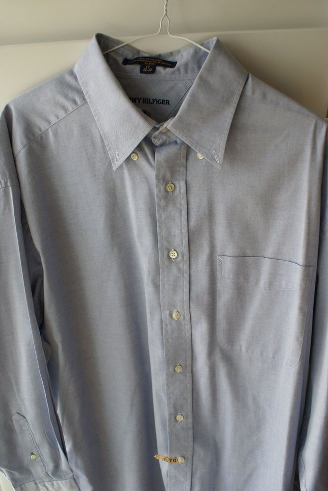 56674f69 Tommy Hilfiger 17-33 Blue Cotton Button-Down Collar Men's Dress Shirt # TommyHilfiger