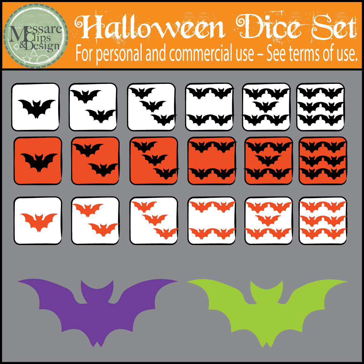 Halloween Counting Dice Amp Bat Clip Art Set Messare Clips