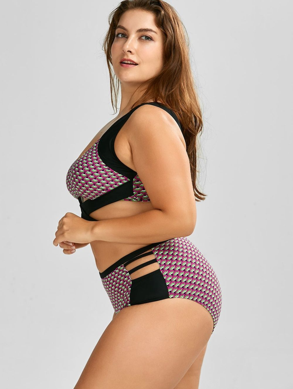 ed45baf820a Wrap High Waist Print Plus Size Cutout Bikini - BLACK 2XL
