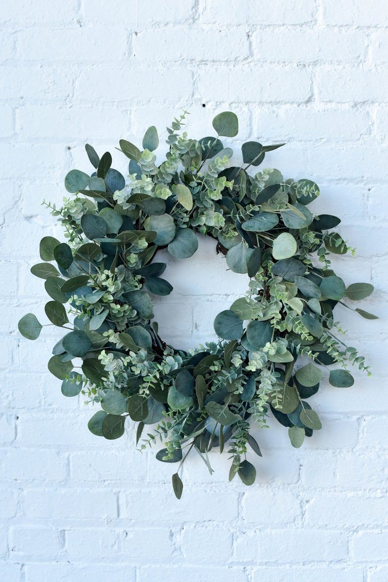 Photo of Spring wreath, summer wreath, mixed eucalyptus wreath, green wreath, everyday wreath, farmhouse wreath for front door